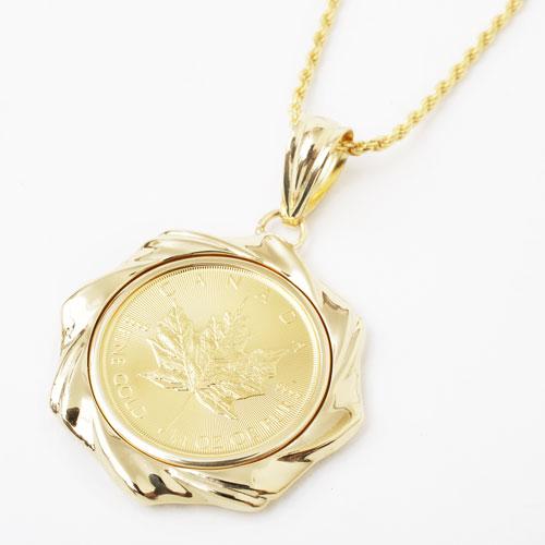純金 コイン ペンダント メイプルリーフ/カエデ K18 デザイン枠 3858-JN18