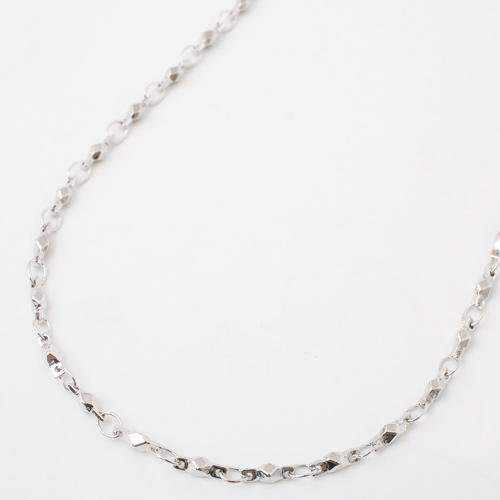 真鍮 ロジウム仕上げ ネックレス デザイン ショート切子 磁気 マグネット 3927-YA18