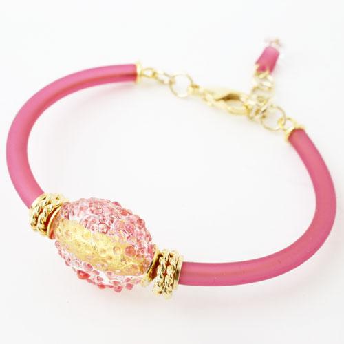 イタリア製 ベネチアンガラス ブレスレット ピンク シュガーキャンディー アジャスター付き キアラ・デザイン  3945-IN18