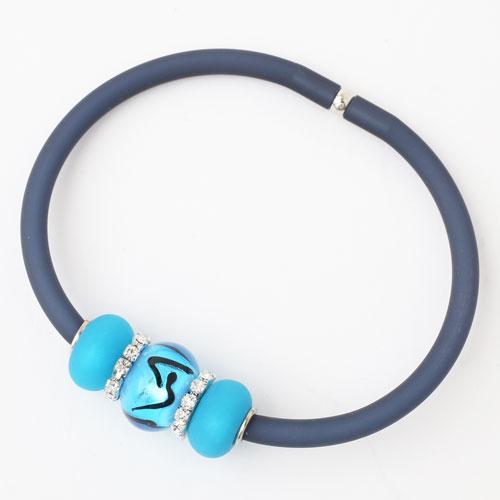 イタリア製 ベネチアンガラス ブレスレット ブルー/青 ノーブルエレガンス キアラ・デザイン  3948-IN18