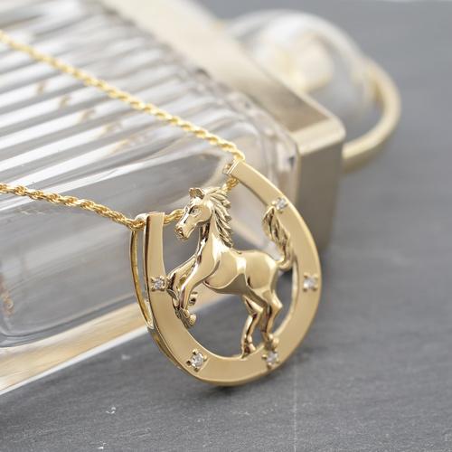 18金 K18 ダイヤモンド  ペンダント ホース/馬/馬蹄 3994-HG19