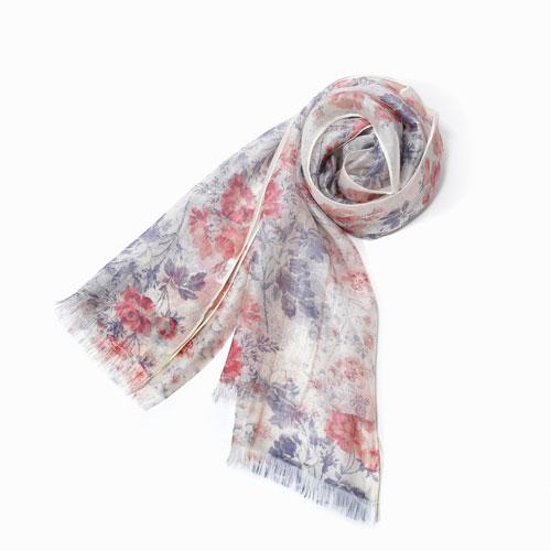 インド製 花柄ストール マフラー ショール ストール ファッション雑貨 レーヨン シルク 花柄 フラワー ピンク カディー  インド製