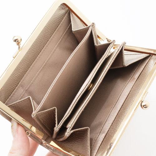 日本製 レザー 牛革 財布 二つ折り ナイロン ゴールド 4034-MZ18