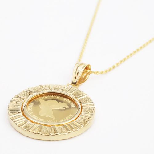 純金 コイン ペンダント エンジェル K18 デザイン枠 4038-HG19