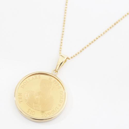 日本製 純金 K18 レオナルド・ダ・ビンチ コイン ペンダント 1/10オンス 4066-MS19