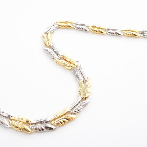 純プラチナ 純金 ネックレス コンビ リーフ グラデーション&リバーシブル 4069-NM19