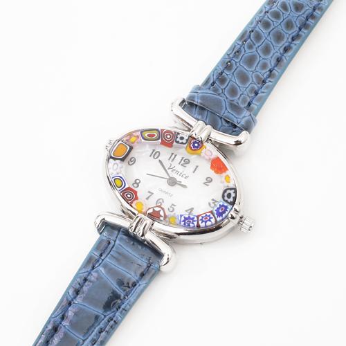 【送料無料】【イタリア製】ベネチアンガラス/ベネチアングラス 腕時計/ウォッチ blue/ブルー/青 ベルト ハンドメイド/手作り 4073-GO19