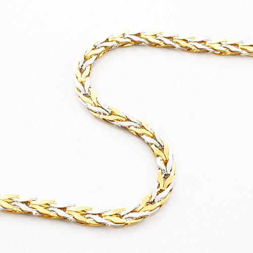 純プラチナ 純金 ネックレス コンビ ストレート・チューリップ リバーシブル セミハンドメイド デザイン枠 4085-NM19