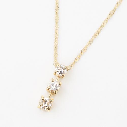 18金 K18 スリーストーン ペンダント ダイヤモンド 0.27カラット 4111-TK19
