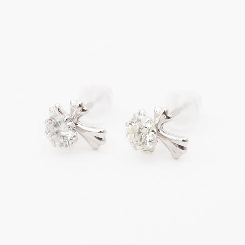 日本製 プラチナ900 ダイヤモンド ピアス タイニークロス 合計0.2カラット 4130-HG19