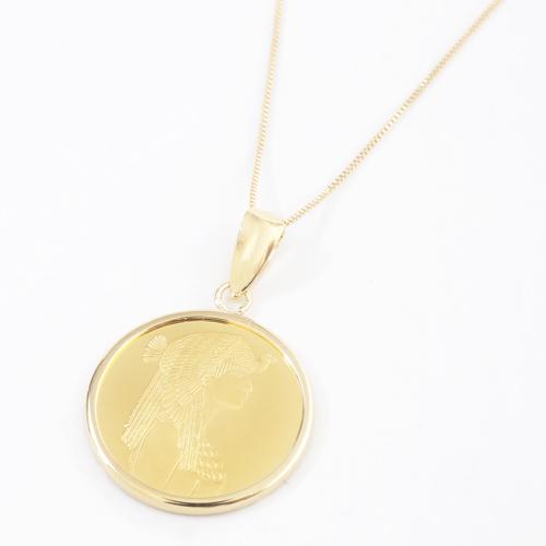 純金 18金 クレオパトラ ラクダとピラミッド コイン ペンダント 4157-HG19