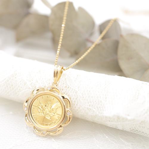 純金 K24 メイプルリーフ ダイヤモンド4石約0.04ct コインペンダント 4165-JN19