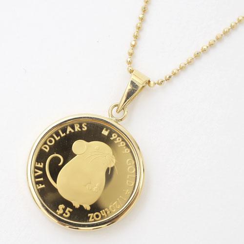 英国王室造幣局 干支 ネズミ コイン ペンダント 4167-MS19