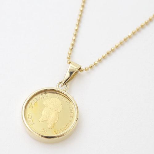 日本製 純金 K18 ドッグ コイン ペンダント 1/30オンス 4170-MS19