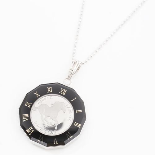 純プラチナ プラチナ900 ホース  コイン ペンダント 12角時計盤枠  4173-HG19