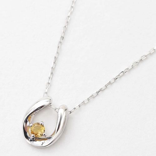 10金 K10WG ホワイトゴールド ネックレス ペンダント 馬蹄 天然石 トパーズ 11月 誕生石 4192-HG20