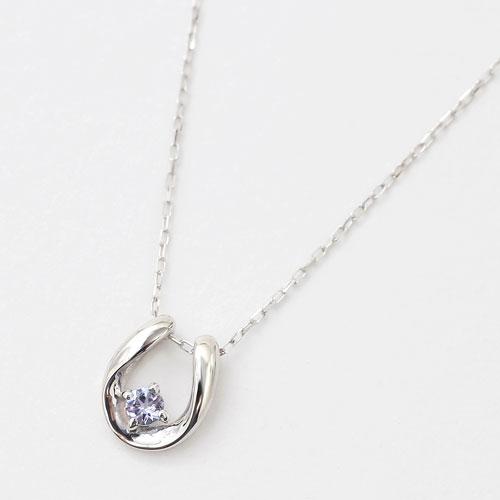 10金 K10WG ホワイトゴールド ネックレス ペンダント 馬蹄 天然石 タンザナイト 12月 誕生石 4193-HG20
