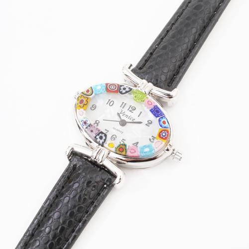 イタリア製 ベネチアンガラス 腕時計 ブラックカラー 4197-GO19
