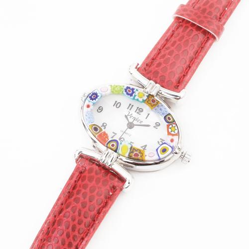 イタリア製 ベネチアンガラス 腕時計 レッドカラー 4199-GO19