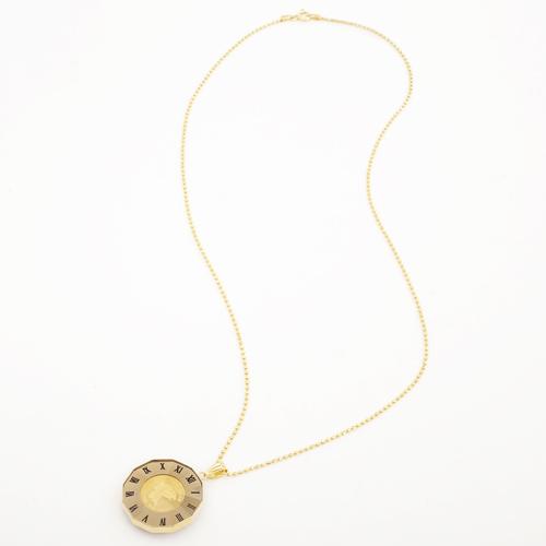 日本製 純金 K18 エンジェル  コイン ペンダント ローマ数字 1/25オンス 4210-HG19