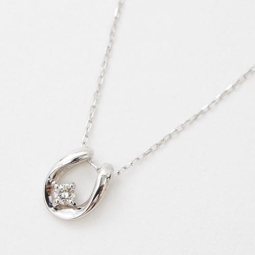 10金 K10WG ホワイトゴールド ネックレス ペンダント 馬蹄 天然石 ダイヤモンド 4月 誕生石 4212-HG20