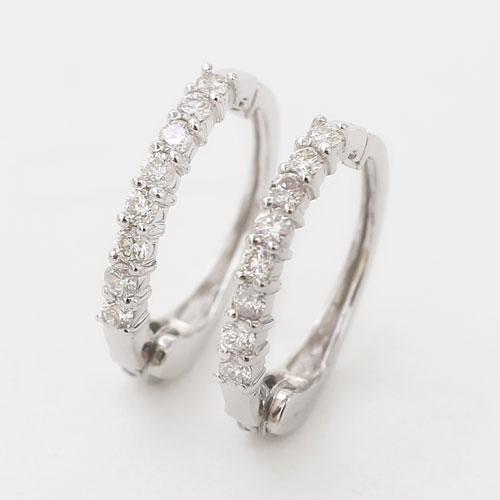 ダイヤモンド入 リバーシブル 14金 K14 ホワイトゴールド シンプル ピアリング イヤリング 4216-UK20