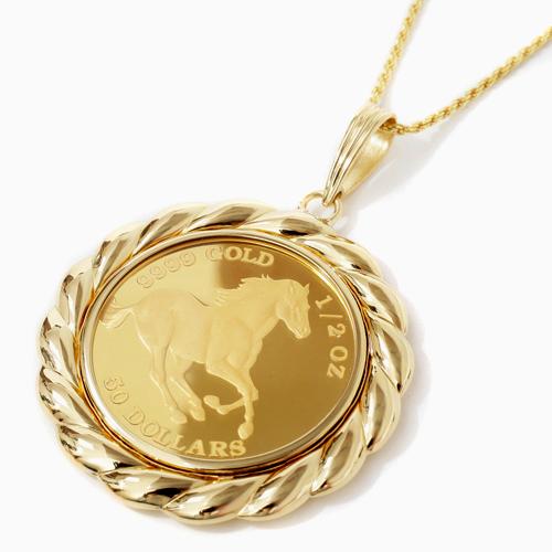日本製 純金 K18 ホース コイン ペンダント 15g 1/2オンス 4219-HG20
