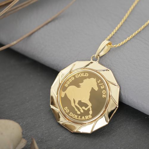 日本製 純金 K18 ホース  コイン ペンダント 15.5g 1/2オンス  4220-HG20