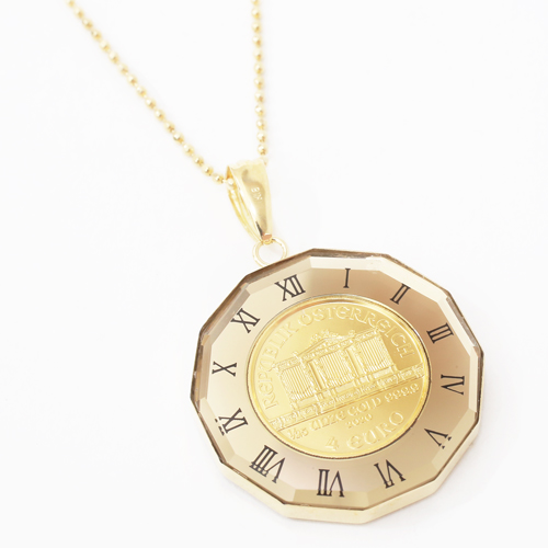 日本製 純金 K18 ウィーンハーモニー コイン ペンダント  時計盤 デザイン枠 4222-HG20