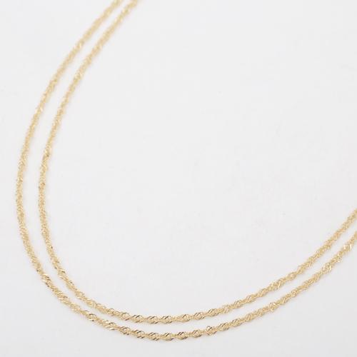 日本製 18金 K18  ネックレス オシャレ 2連 4228-NM20