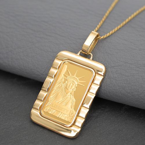 日本製 純金 K18 インゴット コイン ペンダント 自由の女神 4233-HG20
