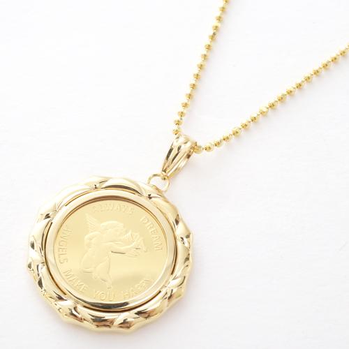 日本製 純金 エンジェル コイン ペンダント 2.5g 4286-HG20