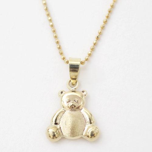 スペイン製 9金 K9  ベアー BEAR クマ 熊 ペンダント  テディ 北極 くま 4311-AM20