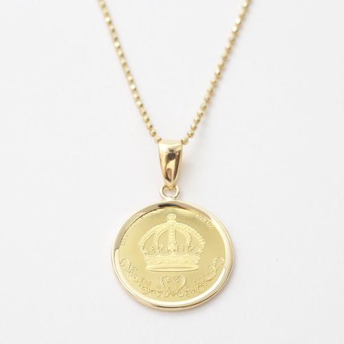 純金 24金  コイン 金貨 ネックレス ライオン クラウン 4326-HG20