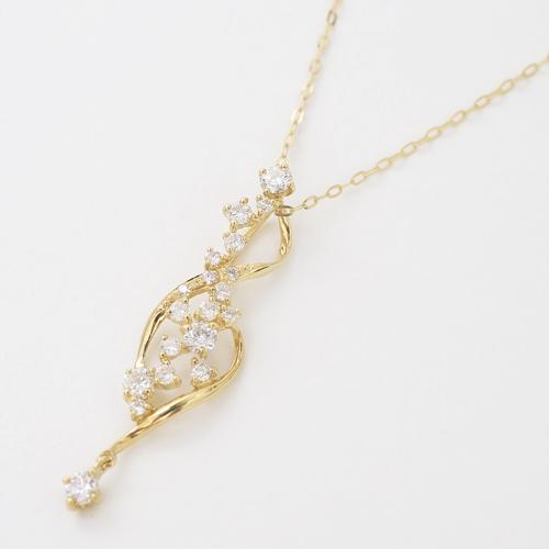 日本製 18金 K18 ゴールド パヴェ ダイヤモンド ペンダント ネックレス 4329-UK20