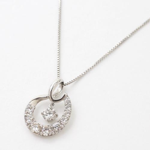 日本製 プラチナ Pt950 ゴールド パヴェ ダイヤモンド ペンダント ネックレス 4330-UK20