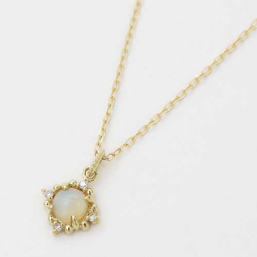 18金 K18 イエローゴールド ダイヤモンド ネックレス アズキチェーン ペンダント オパール レディース 4334-UK20