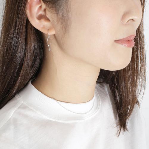 日本製 プラチナ Pt900 アメリカンピアス チェーンピアス ダイヤモンド 4341-HG20