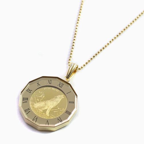 レッド・ウルフ カリフォルニア コンドル 純金 K24 コイン  ペンダント 4448-HG21