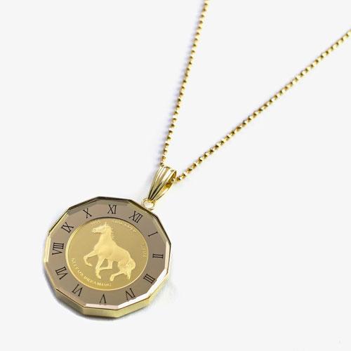 ホース&バテイ リバーシブル 純金 K24 コイン  ペンダント 4449-HG21