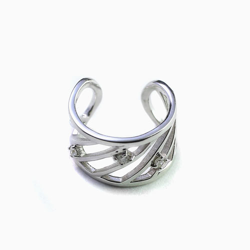 10金 K10WG ホワイトゴールド イヤーカフ イヤークリップ イヤリング ダイヤモンド  4453-UK21