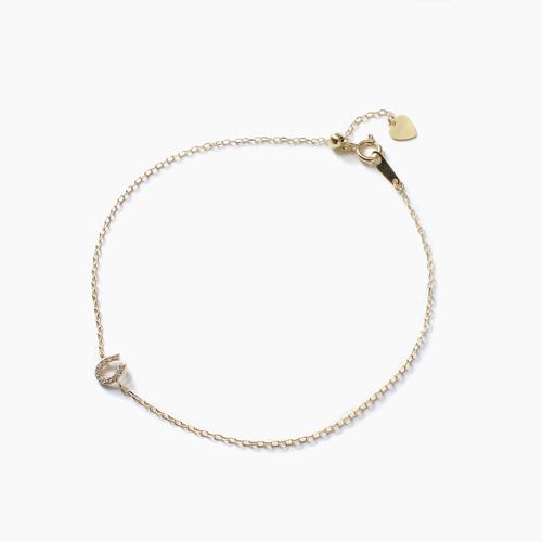 日本製 10金 馬蹄 ブレスレット ダイヤモンド 合計約0.02カラット 4480-UK21