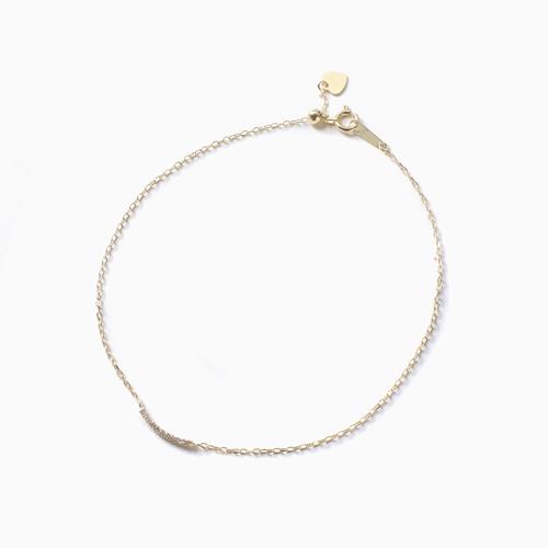 日本製 10金 ライン ブレスレット ダイヤモンド 合計約0.02カラット 4482-UK21