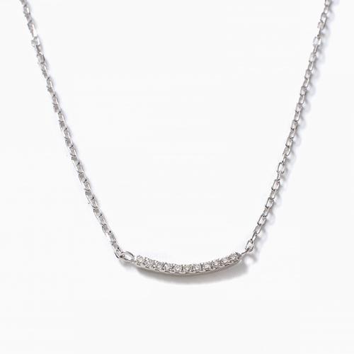 日本製 10金ホワイトゴールド ライン ブレスレット ダイヤモンド 合計約0.02カラット 4483-UK21