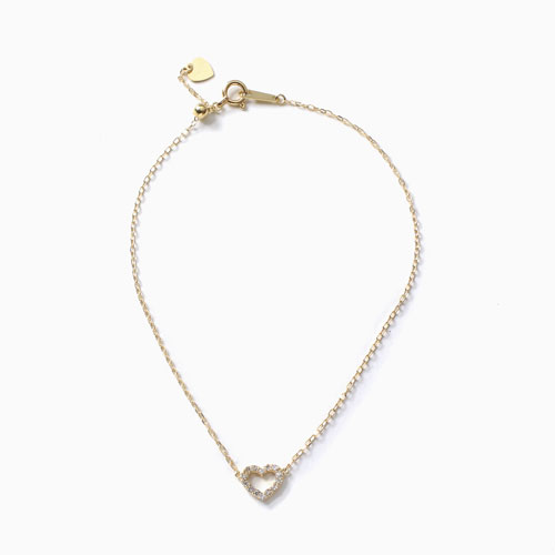 日本製 10金 ハート ブレスレット ダイヤモンド 合計約0.1カラット 4486-UK21