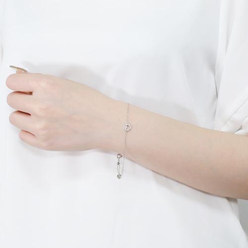 日本製 10金ホワイトゴールド ハート ブレスレット ダイヤモンド 合計約0.1カラット 4487-UK21
