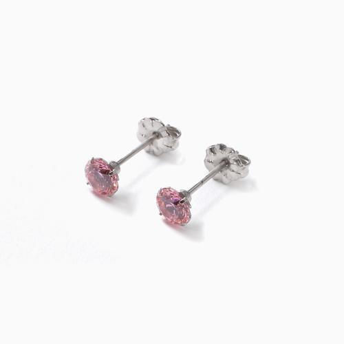 スワロフスキー 純チタン PURETITANIUM MARE マーレ  ピアス 5mm ピンク・ダイヤモンド カラー 4494-TZ21