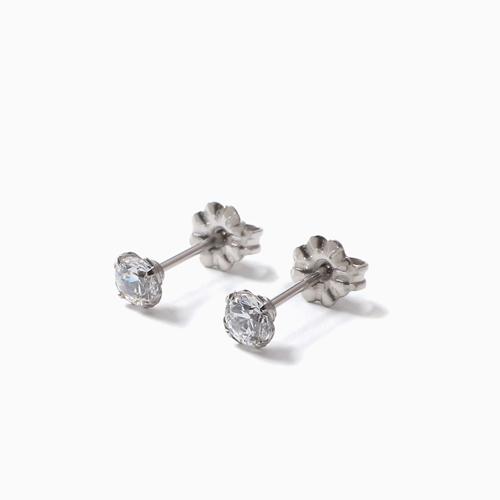 スワロフスキー 純チタン PURETITANIUM MARE マーレ  ピアス 4mm ホワイト・ダイヤモンド カラー 4496-TZ21