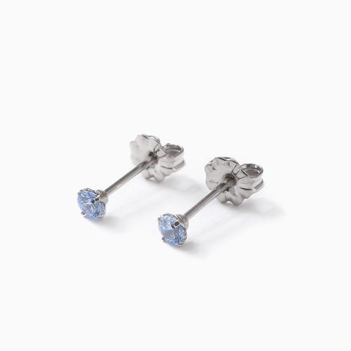 スワロフスキー 純チタン PURETITANIUM MARE マーレ  ピアス 3mm ブルー・ダイヤモンド・カラー 4501-TZ21
