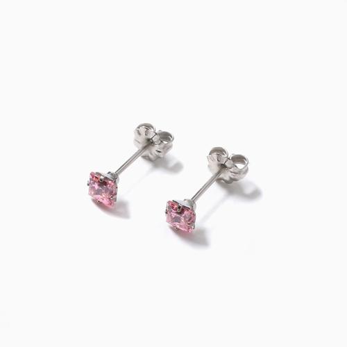 スワロフスキー 純チタン PURETITANIUM MARE マーレ  ピアス 4mm ピンク・ダイヤモンド カラー 4506-TZ21